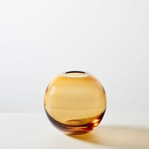 Set of Two Amber Glass Bud Vases